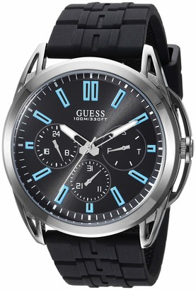 GUESS Comforable Black Stain Resistant Silicone Watch with Day Date + 24 Hour Military/Int'l Time. Color: Black (Model: U1177G1)