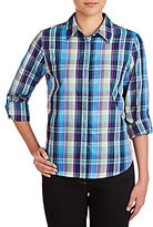 Allison Daley Collared Roll-Tab Sleeve Button Front Plaid Shirt