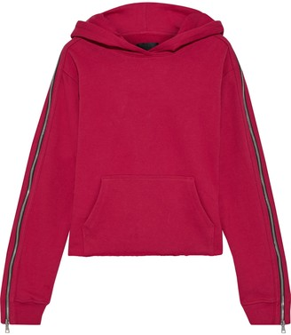 RtA Cicely Cropped Zip-detailed Cotton-fleece Hoodie