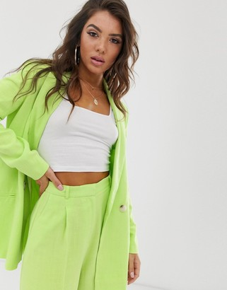 ASOS DESIGN linen suit blazer in lime pop