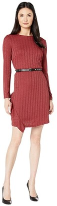 Sam Edelman Asymmetrical Ruffle Knit Dress (Amber) Women's Dress