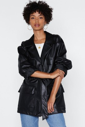 Nasty Gal Womens Longing for You Faux Leather Belted Jacket - Black