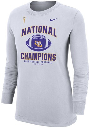 Nike Women's White LSU Tigers College Football Playoff 2019 National Champions Performance Cotton Long Sleeve T-Shirt