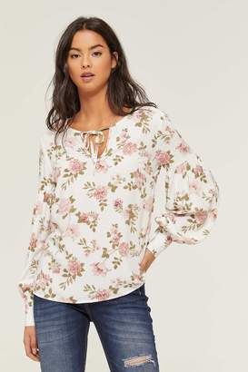 Ardene Floral Blouse with Neck Tie