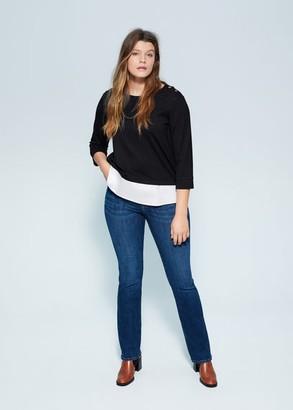 MANGO Violeta BY Mixed cotton sweatshirt black - M - Plus sizes