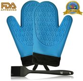 RC Heat Resistant Food Grade Silicone Gloves Oven Mitt (Blue) with Black Cotton Sleeve 1 Pair + Sauce Brush for Cooking/ Barbecue/ Grilling (Black)