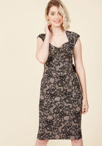 Stop Staring Nonpareil Nuptials Sheath Dress in Black Blossom in S