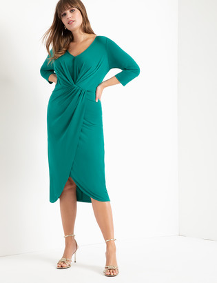 ELOQUII Long Sleeve Draped Front Midi Dress