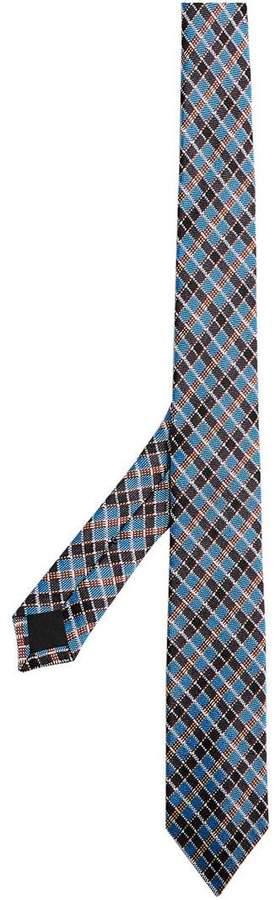 Burberry Slim Cut Check Silk Jacquard Tie