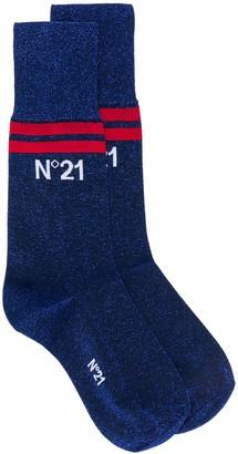 No.21 Glitter Logo Print Ankle Socks