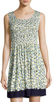 Max Studio Smocked Floral-Print Jersey Dress, Blue Pattern