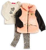Betsey Johnson Girls 2-6x Faux Leather and Faux Fur Jacket, Tee and Leggings Set