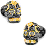 Cufflinks Inc. 3D Day of the Dead Sugar Skull Cuff Links, Black/Gold