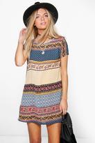 boohoo Kelsey Paisley Cap Sleeved Shift Dress multi