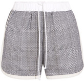 Sacai Laser-cut Prince Of Wales Checked Cotton-jacquard Shorts - Gray