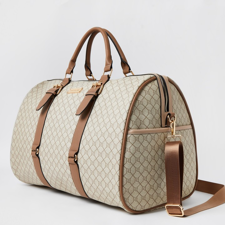 Thumbnail for your product : River Island Womens Beige RI Monogram large weekend duffle bag