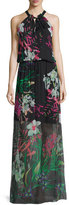Elie Tahari Cayla Halter-Neck Floral-Print Maxi Dress, Black