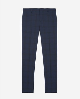 The Kooples Blue suit trousers in wool with check motif
