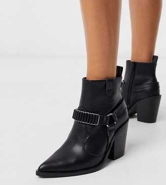 ASOS DESIGN Wide Fit Everyday western ankle boots with harness