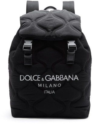 Dolce & Gabbana Logo-printed Quilted Backpack - Black White
