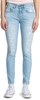 PRPS Mid-Rise Distressed Light-Wash Skinny Jeans