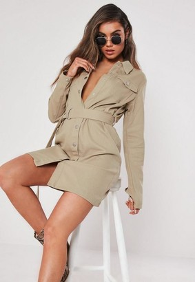 Missguided Tall Sand Button Through Utility Shirt Dress
