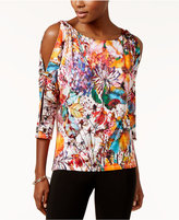 Cable & Gauge Printed Cold-Shoulder Top