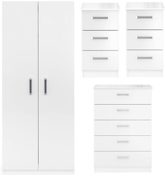 Sanford High Gloss Ready Assembled 4 Piece Package - 2 Door Wardrobe, Chest of 5 Drawers and 2 Bedside Chests