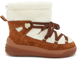 Moncler Florine Shearling And Suede Snow Boots - Tan White