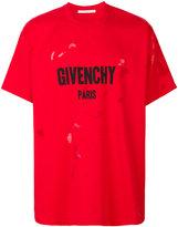 Givenchy Columbian-fit distressed logo print T-shirt - men - Cotton/Polyester - XXS