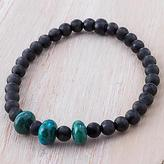 Chrysocolla and Black Agate Beaded Bracelet from Peru, 'Exotic Elegance'