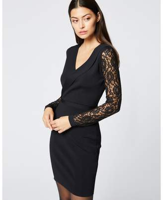 Morgan Wrapover Blazer Bodycon Dress with Long Laced Sleeves