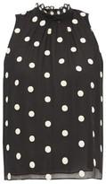 Rebecca Taylor Sleveless Polka-dot Embroidered-silk Blouse - Womens - Black Multi