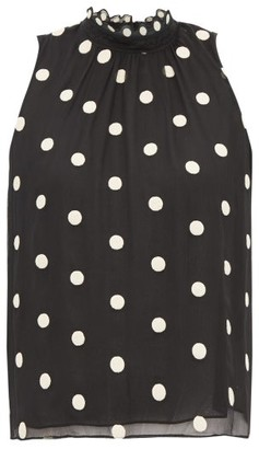 Rebecca Taylor Sleveless Polka-dot Embroidered-silk Blouse - Womens - Black Multi