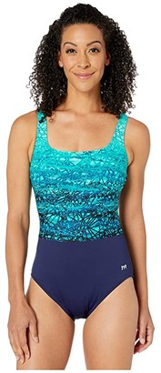 TYR Scoop Neck Control Fit One-Piece (Blue/Teal) Women's Swimsuits One Piece