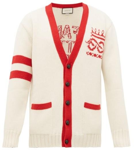 Gucci Far Better Not Slogan Jacquard Wool Cardigan - Mens - Red White
