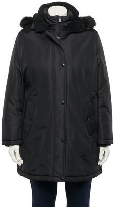 Details Plus Size Faux-Fur Hood Water-Resistant Coat