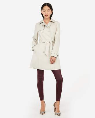Express Classic Double-Breasted Matte Button Trench Coat