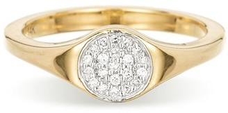 Adina Reyter Small Solid Pave Disc Signet Ring in Yellow Gold