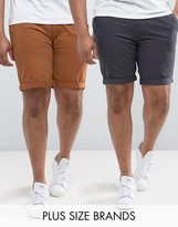 D-Struct Plus Turn Up Chino Shorts 2 Pack