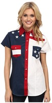 Roper Americana Pieced Color Block Top Women's Long Sleeve Button Up