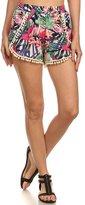 Simplicity Women Pompom Tassel Trim Mini Shorts Pants, MultiColor Print L