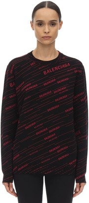 Balenciaga Crewneck Logo Intarsia Sweater
