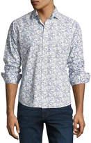 Neiman Marcus Floral-Print Sport Shirt, Blue