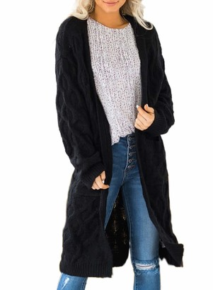 BLENCOT Women Long Sleeve Open Front Knitted Cardigan Sweater Over The Knee Jumper Coat Black