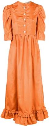 Batsheva puff-sleeve midi dress