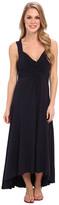 Mod-o-doc Cotton Modal Spandex Jersey Shirred Crossover Hi-Low Dress