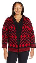 Alfred Dunner Women's Printed Open Cardigan Sweater