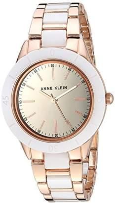 Anne Klein Women's AK/3160WTRG Rose Gold-Tone and White Ceramic Bracelet Watch
