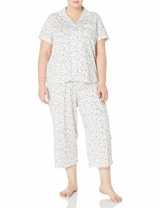 Karen Neuburger Women's Plus Size Short-Sleeve Floral Girlfriend Crop Pajama Set